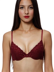 Sexy Demi Push Up Bra Burgundy Allover Lace Back Closure Angle Romantic