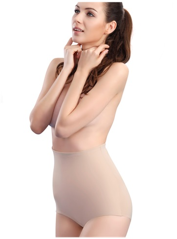 PPZ Slimming High Waist Shapewear Khaki, Size:S - This firm-control high-waist panty smooths your tummy, waist and hips for a sleek hourglass shape, instantly. The full coverage rear is slip-proof, so you get a flatter, firmer profile under the slinky styles.