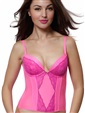 Removable Sexy Push-up Plunge Crop Bustier Bra Micro Lace  Purple Pink