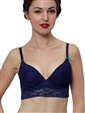 Push-up Demi Lace Bra Crop Bustier Rhinestone Dark Blue